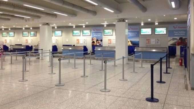 empty check in desks at airport